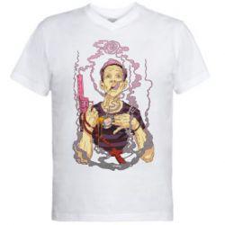 Чоловіча футболка з V-подібним вирізом Gun, Coffee and Cigarettes