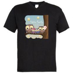 Чоловіча футболка з V-подібним вирізом Happy family