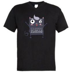 Мужская футболка  с V-образным вырезом it's monday don't forget to be awesome