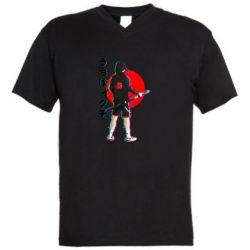 Чоловіча футболка з V-подібним вирізом Itachi in modern clothes