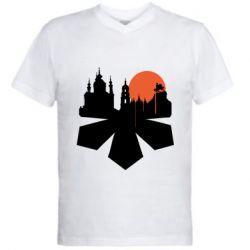 Чоловіча футболка з V-подібним вирізом Kiev city of chestnuts