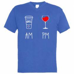 Чоловіча футболка з V-подібним вирізом Кофе и бокал с вином