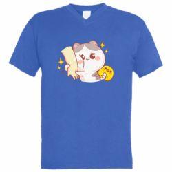 Чоловіча футболка з V-подібним вирізом Кішка тримає руку