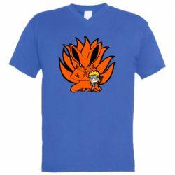 Чоловіча футболка з V-подібним вирізом Kurama And Naruto