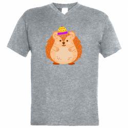 Чоловіча футболка з V-подібним вирізом Little hedgehog in a hat