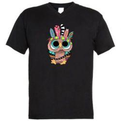 Чоловіча футболка з V-подібним вирізом Little owl with feathers
