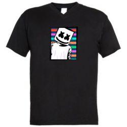 Мужская футболка  с V-образным вырезом Marshmello Colorful Portrait