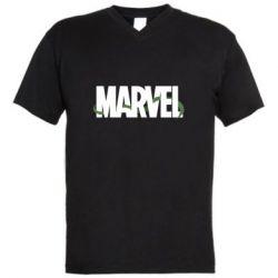 Мужская футболка  с V-образным вырезом Marvel logo and vine