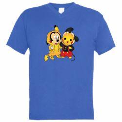 Мужская футболка  с V-образным вырезом Mickey and Pikachu
