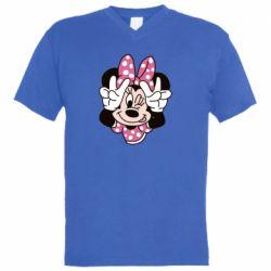 Чоловіча футболка з V-подібним вирізом Minnie Mouse
