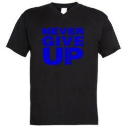 Чоловіча футболка з V-подібним вирізом Never give up 1