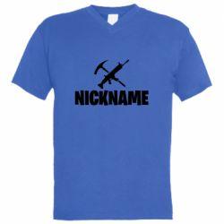 Чоловіча футболка з V-подібним вирізом Nickname fortnite weapons