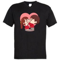 Чоловіча футболка з V-подібним вирізом Парочка. Які щічки