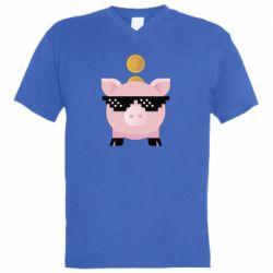 Чоловіча футболка з V-подібним вирізом Piggy bank