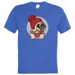 Чоловіча футболка з V-подібним вирізом Pug And Coffee