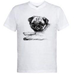 Чоловіча футболка з V-подібним вирізом Pug drawing