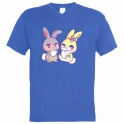 Чоловіча футболка з V-подібним вирізом Rabbits In Love