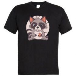 Чоловіча футболка з V-подібним вирізом Raccoon with cookies