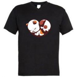 Чоловіча футболка з V-подібним вирізом Сердечко. Котик и собачка