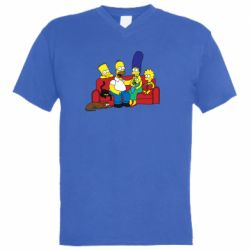 Мужская футболка  с V-образным вырезом Simpsons At Home