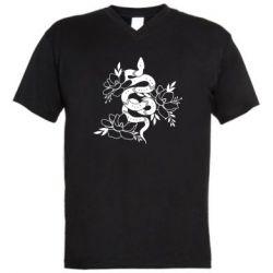 Чоловіча футболка з V-подібним вирізом Snake with flowers