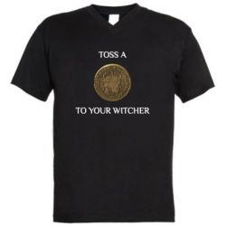 Чоловіча футболка з V-подібним вирізом Toss a coin to your witcher ( орен )