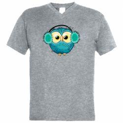 Мужская футболка  с V-образным вырезом Winter owl
