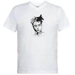 Мужская футболка  с V-образным вырезом XXXTentacion Monochrome Art