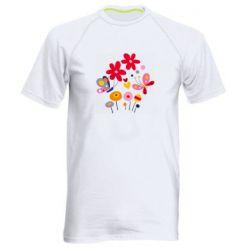 Мужская спортивная футболка Flowers and Butterflies