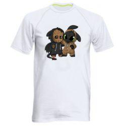 Мужская спортивная футболка Groot And Toothless