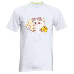 Чоловіча спортивна футболка Кішка тримає руку