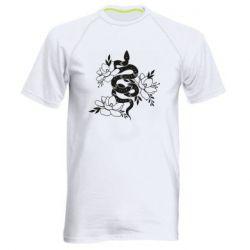 Чоловіча спортивна футболка Snake with flowers