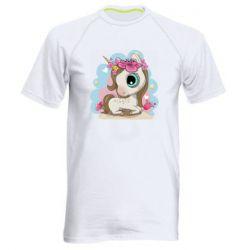 Чоловіча спортивна футболка Unicorn with flowers