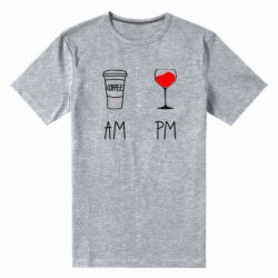 Чоловіча стрейчева футболка Кофе и бокал с вином