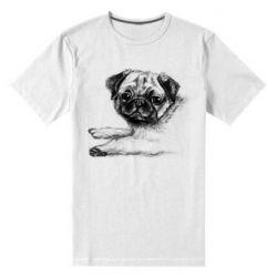Чоловіча стрейчева футболка Pug drawing