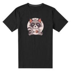 Чоловіча стрейчева футболка Raccoon with cookies