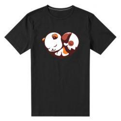 Чоловіча стрейчева футболка Сердечко. Котик и собачка