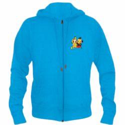 Мужская толстовка на молнии Mickey and Pikachu