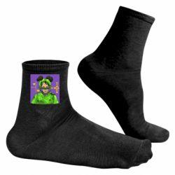 Чоловічі шкарпетки Billy Eilish on purple background