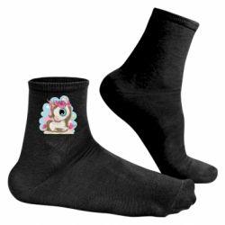 Чоловічі шкарпетки Unicorn with flowers