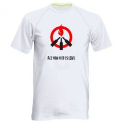 Мужская спортивная футболка All you need is love (Коктейль Молотова) - FatLine