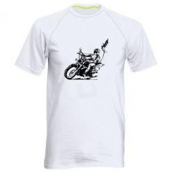 Мужская спортивная футболка Байкер на мотоцикле - FatLine