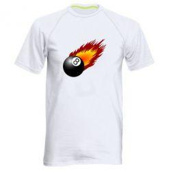 Мужская спортивная футболка Бильярдный шар в огне