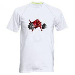 Мужская спортивная футболка Bull with a barbell - FatLine
