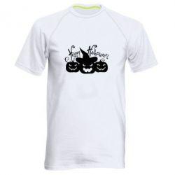 Мужская спортивная футболка Cчастливого Хэллоуина - FatLine