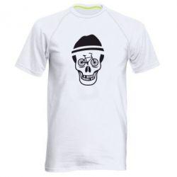 Мужская спортивная футболка Череп велосипедиста