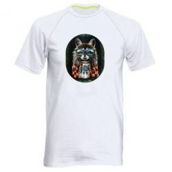 Мужская спортивная футболка Енот в очках - FatLine