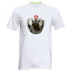 Мужская спортивная футболка Говорун на левом плече, гамаюн на правом