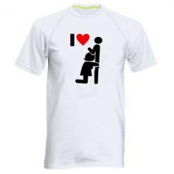 Мужская спортивная футболка I love oral - FatLine