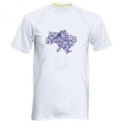 Мужская спортивная футболка Карта України з серцем - FatLine